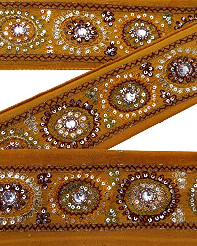 vintage-indian-sari-border-utilise-brode-garniture-femmes-ruban-orange-dentelle-1yd