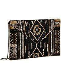 """SIX """"Party"""" kleine Damen Handtasche Abendtasche Satin Clutch mit schwarzen und goldenen Perlen & Pailetten im Ikat Stil Muster, Ethno (427-609)"""
