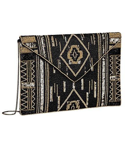 SIX SALE - Damen Abend Handtasche, Satin Clutch, goldene Perlen, Pailetten, schwarz (427-609) (Perlen Tasche Abend Vintage)