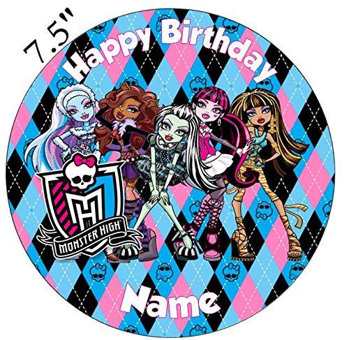 Monster High Inspirado comestible decoración para tarta para glaseado troquelada–personalizar en la sección de (revisar su orden) 'añadir opciones de regalo', 1. Round 7.5inch