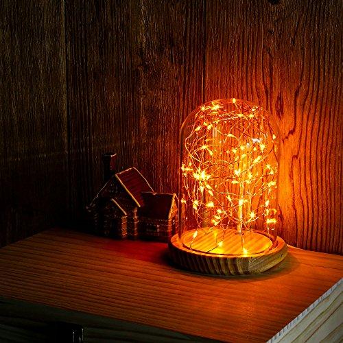 Omonic d'alimentation USB Bocal en verre écran dôme lampe Bell Bambou Base Fée Starry LED String (Jaune chaud) Lampes de chevet lampe de table pour la décoration n'importe où
