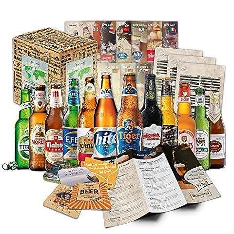 """""""BIERE DER WELT"""" (12 Flaschen) Geschenkidee für Männer INKL. Bierdeckel + Geschenkkarton + Bier-Info. Biergeschenk für Männer oder als ausgefallene Geschenke für den Freund. Die perfekte Geschenkidee für"""