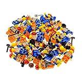 5 x Lego System City Mini Figuren Figur Torso orange bedruckt Eisenbahn Bau Arbeiter Weste Logo mit Zubehör Kopfbedeckung zufällig gemischt