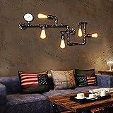 Industrial Wandleuchte OYI Vintage Wasserrohr Wandleuchte Steampunk Lampe 5 E27 Lampenfassung Dekorative Gauge Kupfer Finish