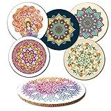 """Addies Glas-Untersetzer 6-tlg.Set """"Mandala"""" mit 6 verschiedenen schönen spirituellen Motiven,in hochwertiger Klarsicht-Geschenkbox und Korkrückseite, rund, Motive-Yoga"""