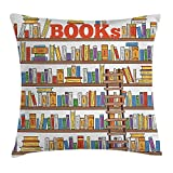 Kissenbezüge Modern Throw Pillow Cushion Cover, Library Bookshelf with A Ladder School Education Campus Life Caricature Illustration, Decorative Square Accent Pillow Case, 18 X 18 inches, Multicolor