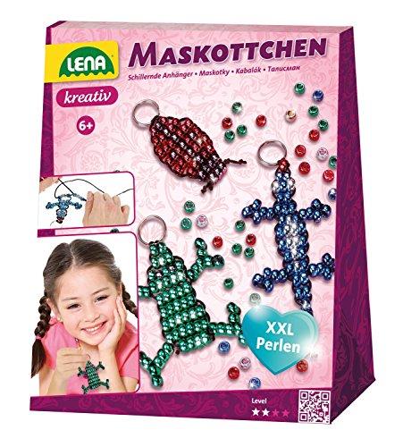 Lena 42131 - Bastelset Maskottchen, Komplettset mit 290 metallicfarbenen Fädelperlen, schwarzem Kordelband, 4 Schlüsselringe und Anleitung, Set zum Basteln von 4 Glücksbringer für Kinder ab 6 - Maskottchen