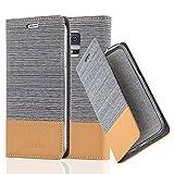 Cadorabo Hülle für Samsung Galaxy S5 / S5 NEO - Hülle in HELL GRAU BRAUN – Handyhülle mit Standfunktion und Kartenfach im Stoff Design - Case Cover Schutzhülle Etui Tasche Book