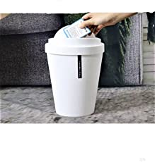 QuickShel Bathroom Living Room Kitchen Plastic Trash Hooded Desktop Trash Can Fashion Office Trash Can