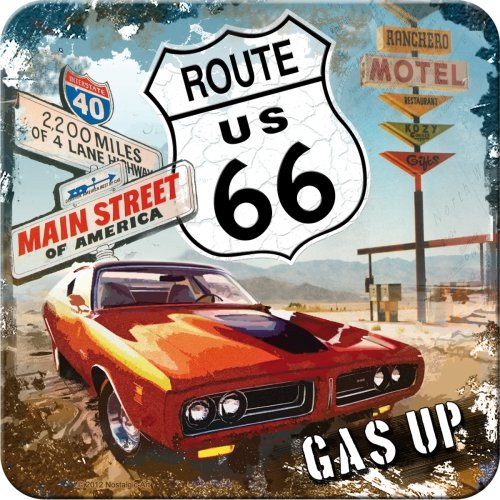 Nostalgic-Art 46109 US Highways Route 66 Red Car Gas Up, Untersetzer