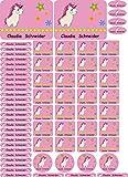 INDIGOS UG Namensaufkleber/Sticker - A4-Bogen - 049 - Pegasus - 69 Sticker für Kinder, Schule und Kindergarten - Stifte, Federmappe, Lineale - auch für Erwachsene - individueller Aufdruck