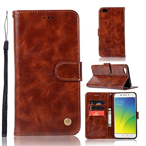 kelman Hülle für Oppo R9s Plus/Oppo F3 Plus Hülle Schutzhülle PU Leder + Soft Silikon TPU Innere Schale Brieftasche Flip Handyhülle - [JX03/Braun]