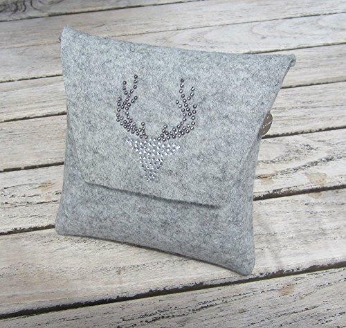 zigbaxx Dirndl-Bag WOOD STAR/Trachtentasche, Gürteltasche, Bauchtasche, Dirndl-Tasche aus Woll-Filz mit Hirsch aus Strass & Studs, grau schwarz pink beige braun- Geschenk Weihnachten Geburtstag