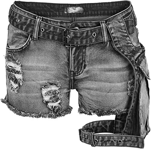 Rock Rebel by EMP Beltbag Hotpants Pantaloncini donna nero 28