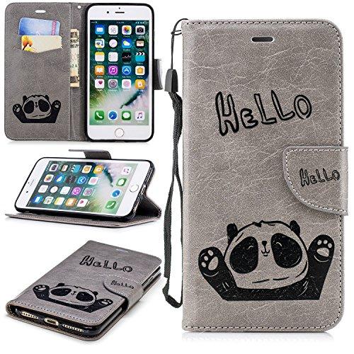 Cozy Hut Hülle iPhone 7 Plus / 8 Plus Handyhülle [Premium Leder][Standfunktion] [Kartenfach] [Magnetverschluss] Schlanke Leder Brieftasche für iPhone 7 Plus / 8 Plus - Grauer Panda -