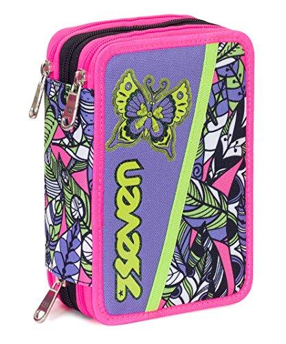 Astuccio 3 zip seven , butterfly , nero multicolore , con contenuto: matite, pennarelli ...