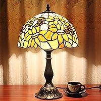 12 pollici Vintage Pastorale elegante farfalla con dei fiori di vetro macchiato di stile di Moderno lampada da tavolo da letto lampada da comodino Lampada
