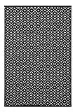 """Green Decore 90 x 150 cm """"Arabian Nights"""" Wendbarer Öko-Teppich aus recyceltem Kunststoff (Plastik) für Innen und Außen/Federleicht, Schwarz/Weiß"""