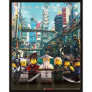 Lego Ninjago - Movie - Hide In Plain Sight- Mini Poster Plakat Druck - Größe 40x50 cm + Wechselrahmen, Shinsuke® Maxi Kunststoff schwarz, Acryl-Scheibe