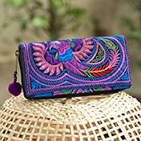 Changnoi One of a Kind Hmong Hill Tribe Embroidered Women Wallet/Purse Fair Trade Purse with Pom Pom Zip Pull