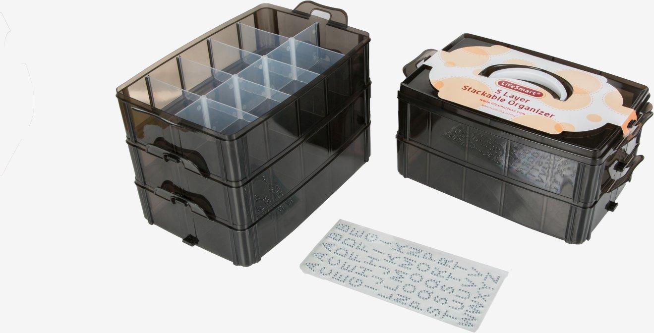 LifeSmart USA archiviazione impilabile Contenitore Nero - 50 Scomparti Regolabili - archiviare più di Tutti Gli Altri… 3 spesavip