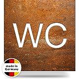 INOXSIGN Vintage WC-Schild W01R – Selbstklebendes Retro Toiletten-Schild – Klar erkennbar und werkzeuglose Montage – Unisex Kloschild – Shabby Chic – Made in Germany