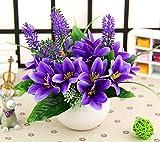 Unechte Blumen,Künstliche Deko Blumen Gefälschte Blumen Seidenrosen Plastik Dahlie Braut Hochzeitsblumenstrauß für Haus Garten Party (Bunt,15cm) , 5