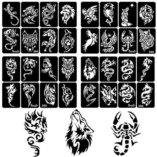 30fogli DIY Airbrush Tattoo stencil per uomini, Dragon Skull Wolf Eagle glitter modelli per body painting
