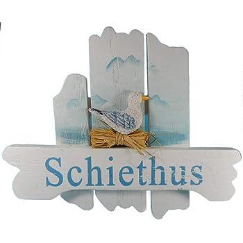 """25x8cm maritime Bad Deko CG Holz Türschild /""""Schiethus/"""" mit Anker /& Segelboot ca"""