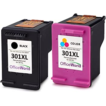 OfficeWorld Remanufactured HP 301 301XL Ink Cartridge High Yield Compatible for HP HP Officejet 2620, HP Deskjet 1510 3050 3050A 2050 1050A 3055A 2542 2544 2050A, HP Envy 4502 4507 (1 Black, 1 Color)