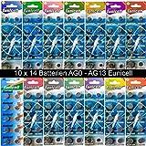 SET AG0-AG13 (14 Blistercards a 10 Batterien je AG...