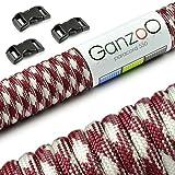 Paracord 550 Seil Starter-Set mit 3 Klickverschlüssen für Armband, Knüpfen von Hundeleine oder Hunde-Halsband zum selber machen / Seil mit 4mm Stärke / Mehrzweck-Seil / Survival-Seil / mit 7 Kernsträngen / Parachute Cord belastbar bis 250kg (550lbs) / reißfestes Kernmantel-Seil / inkl. 3 Klickverschlüssenaus Kunststoff (3/8