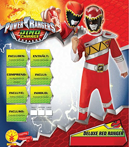 Image of Rubie's Official Child's Power Rangers Dino Charge Deluxe Red Ranger - Medium Ages 5-6
