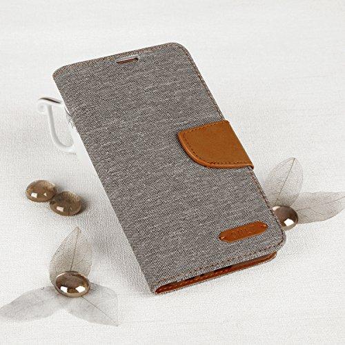 EGO® Bookstyle Handy Tasche mit praktischer Aufstellfuntkion für LG X Mach Grau Flip Case Magnetverschluss Book Cover mit Kartenfach Wallet Stand Schutz Hülle Canvas