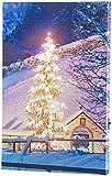 infactory LED Wandbild: Wandbild Weihnachtsbaum vor Bergdorf mit Beleuchtung, 20 x 30 cm (LED Leinwand-Bild)