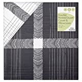 Morrisons 100 Percent Cotton Grey Check Print Double Duvet Set