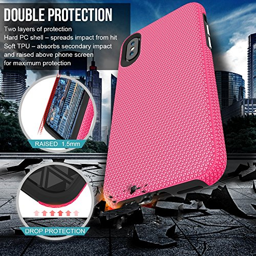 GR Für IPhone X Dual Layer Doppelschutz PC + TPU Drop Resistant Shockproof Hybrid Armor Shell Cover Case ( Color : Gold ) Rose