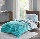 SCM Squares Sets de Housses de Couettes, Parure de lit Avec Housse de Couette en Coton (Single UK:135x200cm+50x75cm, Multi-Teal)
