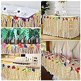 BELLE VOUS Hawaii Deko Tischrock 9ft - Luau Party Deko (L274 x H77cm) mit bunten Hibiskus Blumen - Luau Tischdeko, Tischrock aus Bast für Karibik Deko, hawaiianische Party, Geburtstag und Grillparty - 3