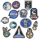 13 piezas de espacio Astronaut Planet Appliques, hierro en/coser parches para ropa chaquetas mochilas Jeans