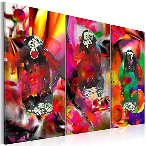 murando - Bilder 135x90 cm Vlies Leinwandbild 3 Teilig Kunstdruck modern Wandbilder XXL Wanddekoration Design Wand Bild - Abstrakt Tiere Affen bunt - wie gemalt g-A-0106-b-e