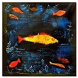 elOleo Paul Klee - Der Goldfisches 80x80 Gemälde auf Leinwand handgemalt 89098A