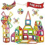Crenova Magnetische bouwstenen 116-delig bouwpakket bevat reuzenwiel-opbergtas, boeken-ideaal speelgoed als cadeau voor kinderen
