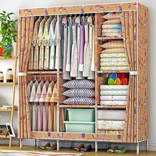 MMM& Aufbewahrungsschränke Großer Zusammenbau Einfacher Kleiderschrank Oxford Tuch Holzfester Schrank Erwachsener (Farbe : #1)