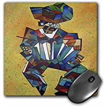 3dRose LLC 8 x 8 x 0.25 Inches Mouse Pad, The Accordian Player Accordion, Blue, Concertina, Cubism, Latin America, Melodeon, Squeezebox (mp_46760_1)