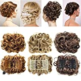 Short Messy Curly Dish Hair Bun Extension Easy Stretch hair Combs Clip in Ponytail Extension Scrunchie Chignon Tray Ponytail Hairpieces - Bleach blonde