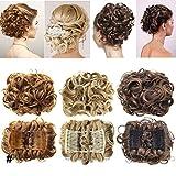 Extensions a clip cheveux naturel postiche cheveux Wrap Scrunchie Scrunchy volumineux Chignon Combs Hair Extensions bouclés - blond de blanchiment
