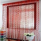 Tongshi Línea linda del corazón de la borla de cadena de la puerta de la cortina de la ventana de la habitación Cortina Valance (rojo)