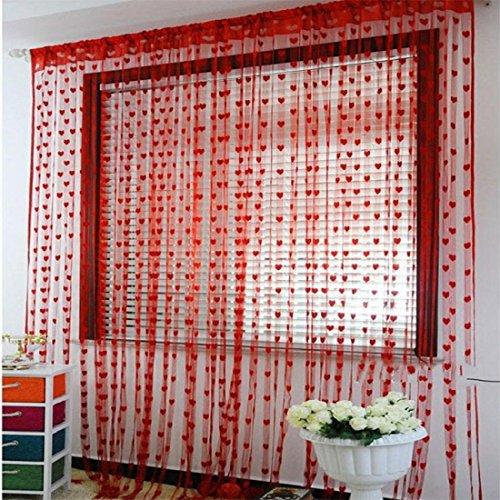 Tongshi Línea linda del corazón de la borla de cadena de la puerta de la cortina de la ventana de la habitación Cortina Valance
