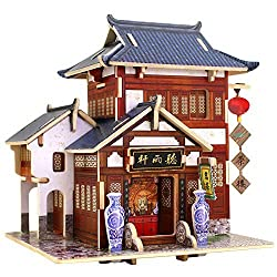 Creative Assemble Puzzle Toys Child Early Education Wooden 3D Puzzle House Chinese Restaurant